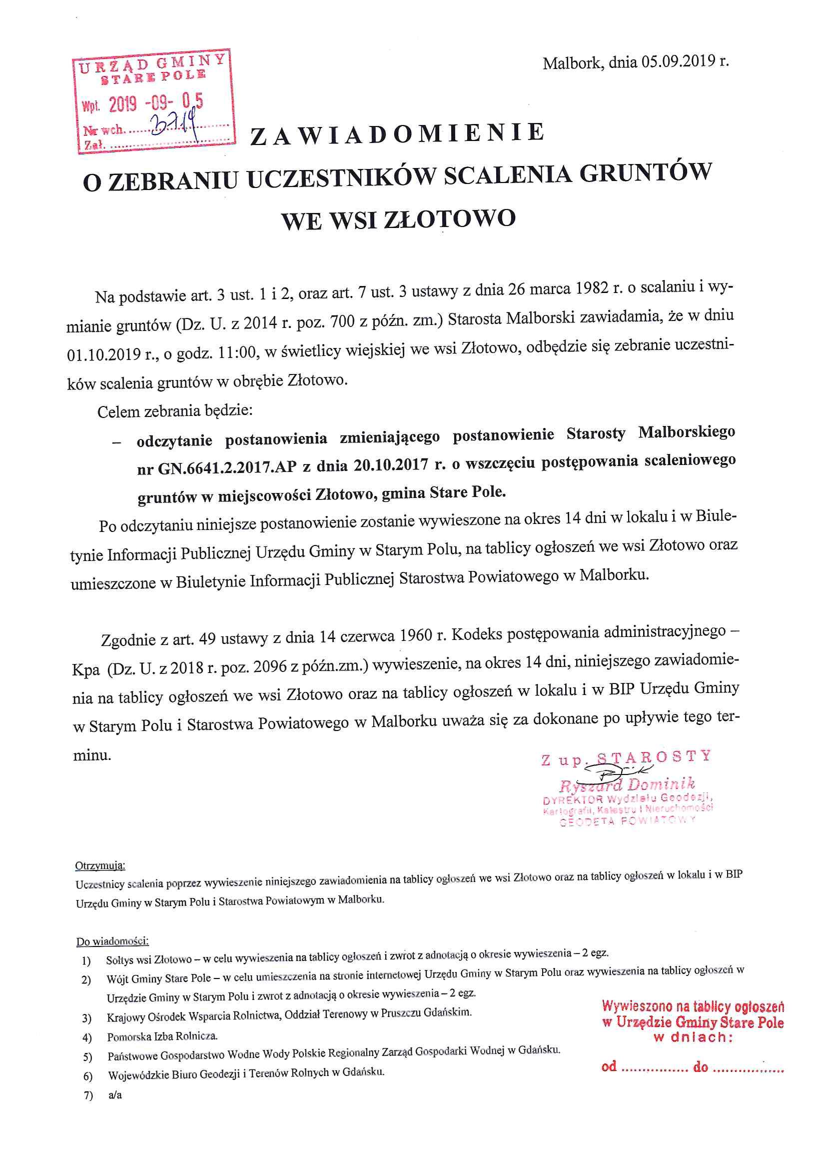 Zawiadomienie z dnia 5 września 2019 r. o zebraniu uczestników scalenia gruntów we wsi Złotowo